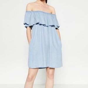 Zara Off The Shoulder Chambray Dress